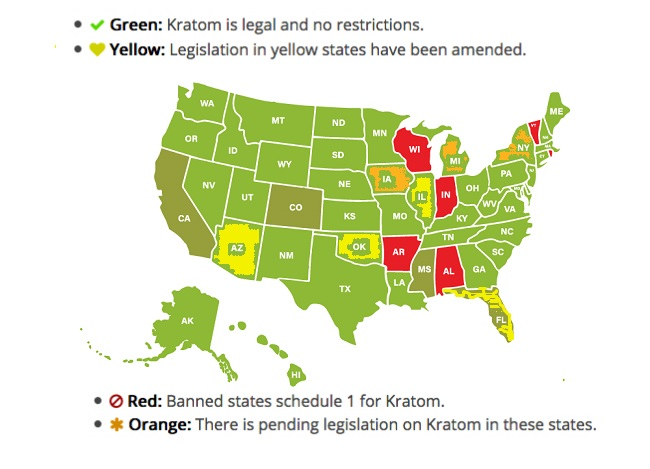 Kratom legality Map